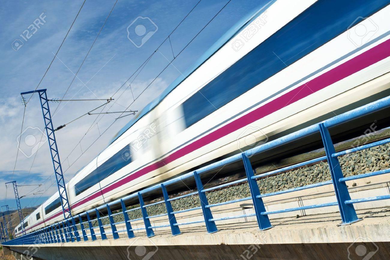 view of a high-speed train crossing a viaduct in Arandiga, Zaragoza, Aragon, Spain. AVE Madrid Barcelona. - 45974114