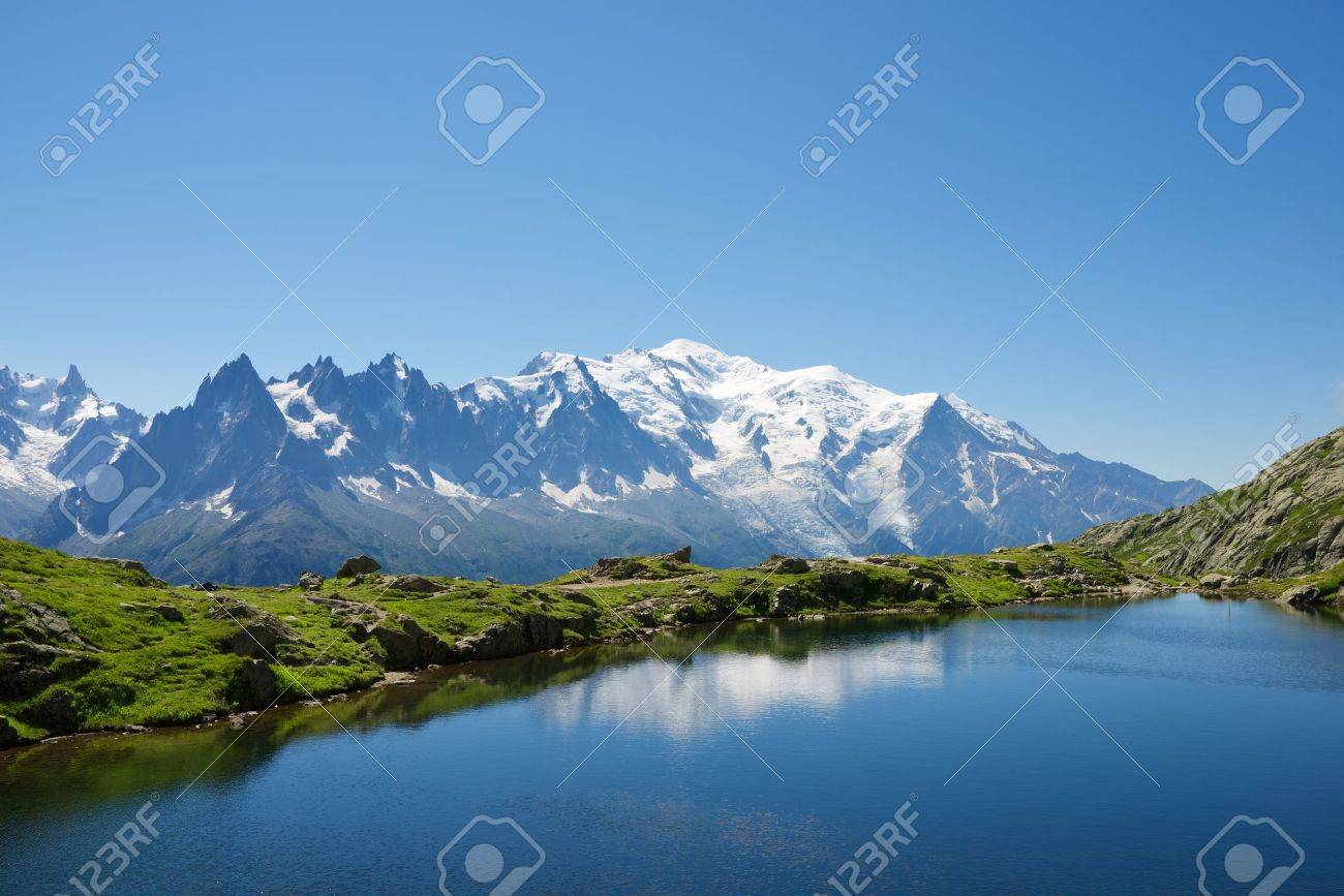 Mont Blanc reflected in Cheserys Lake, Mont Blanc Massif, Alps, France - 47058346