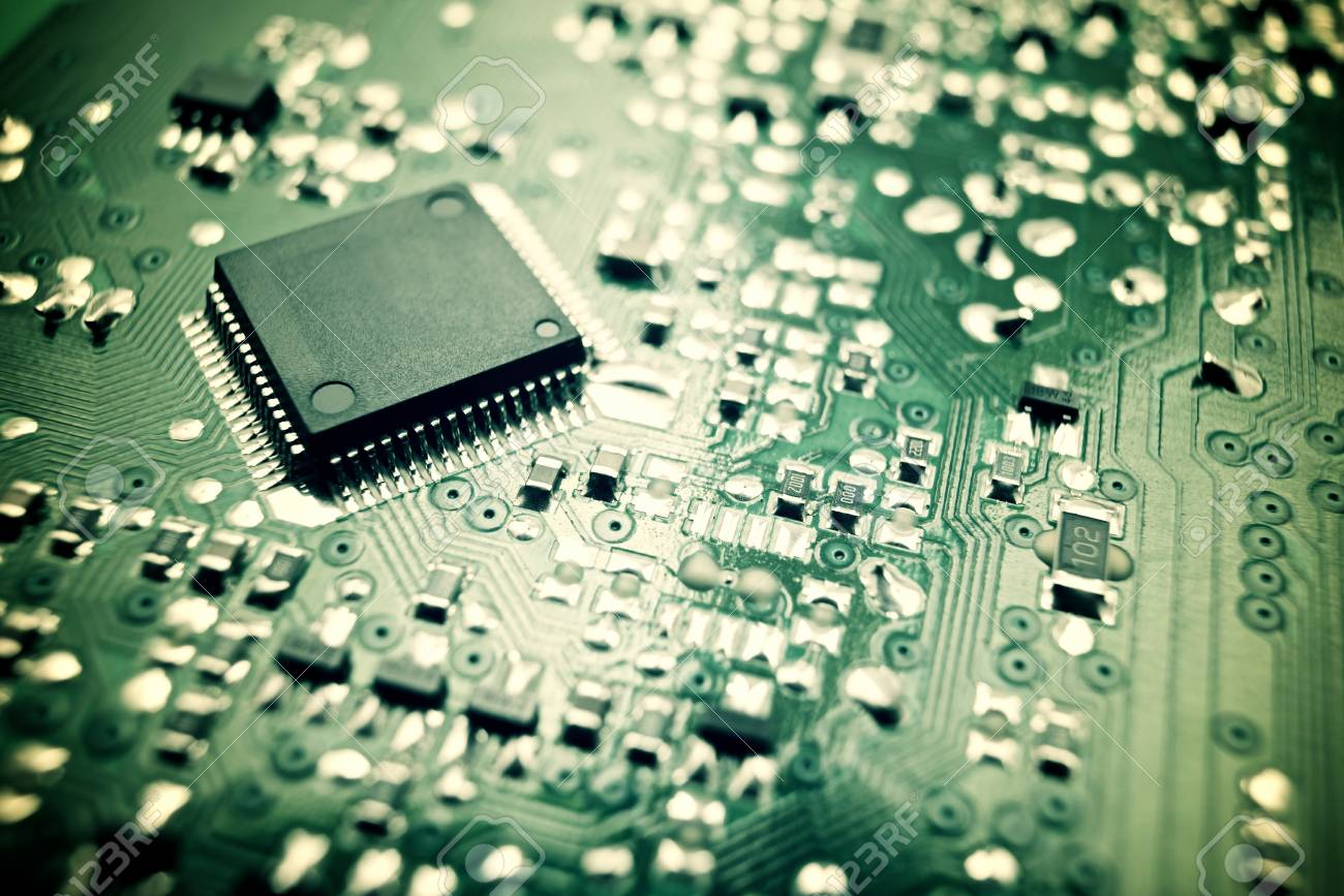 Chip Close Up On A Integrated Circuit Stock Photo Picture And Electronic Royalty Free Image 48436696