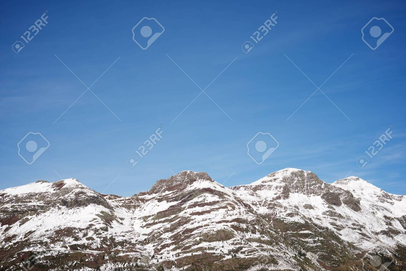 Snowy peaks in Canfranc Valley, Pyrenees, Huesca, Aragon, Spain. - 126130850