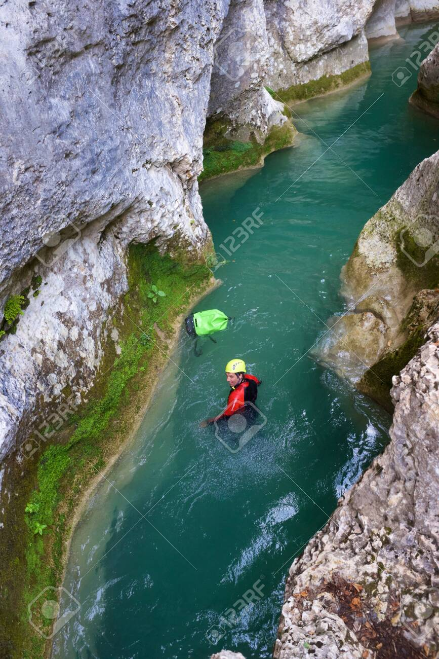 Canyoning in Vero river, Guara mountains, Huesca Province, Aragon in Spain. - 140108745