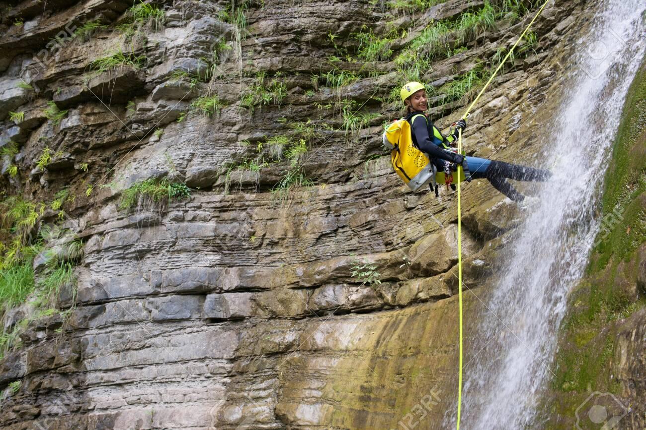 Canyoning in Furco Canyon, Broto, Pyrenees, Huesca Province, Aragon, Spain. - 140528142