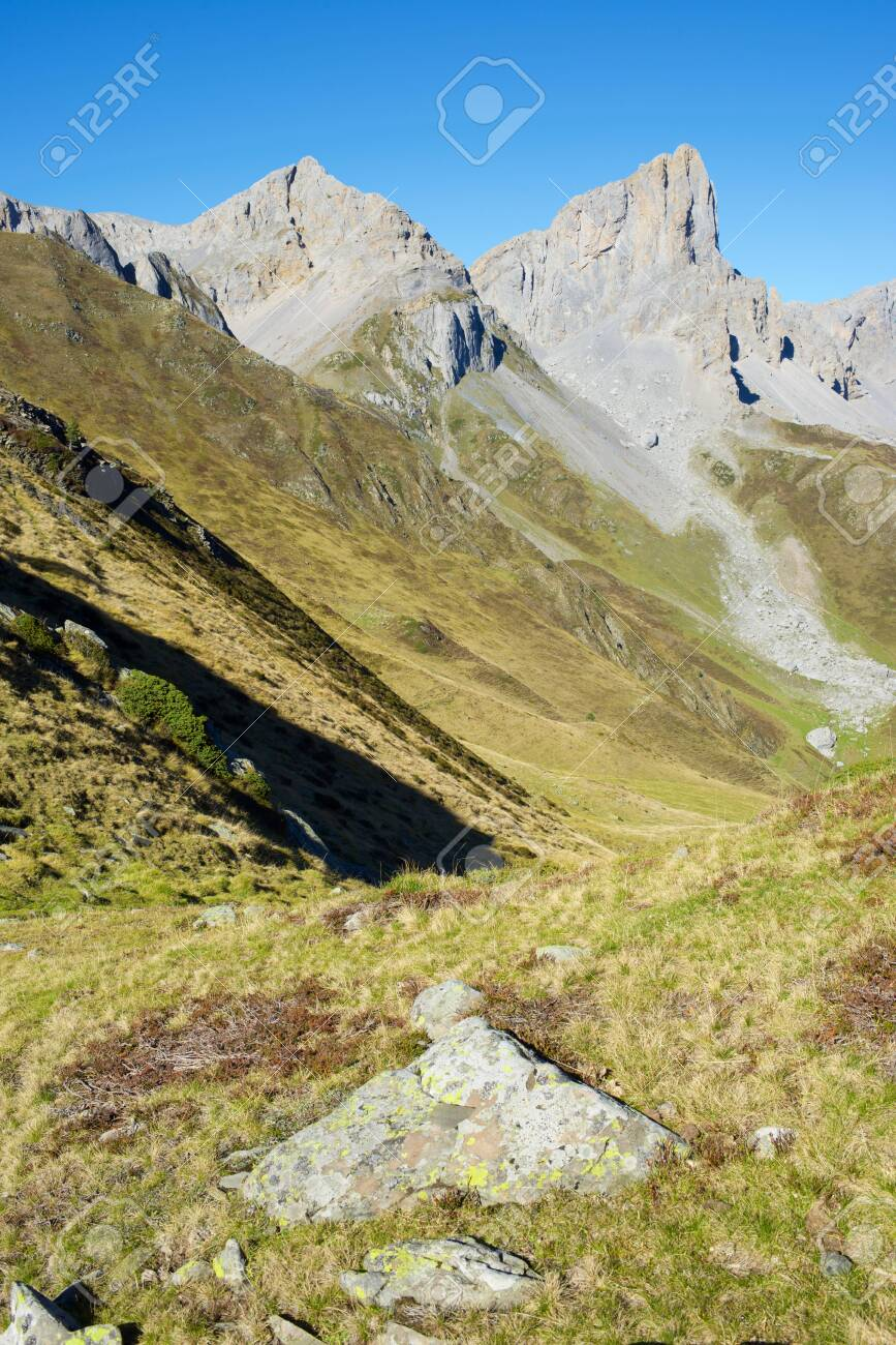 Aiguilles du Ansabere in Lescun Cirque. Aspe Valley, Pyrenees, France. - 142543537