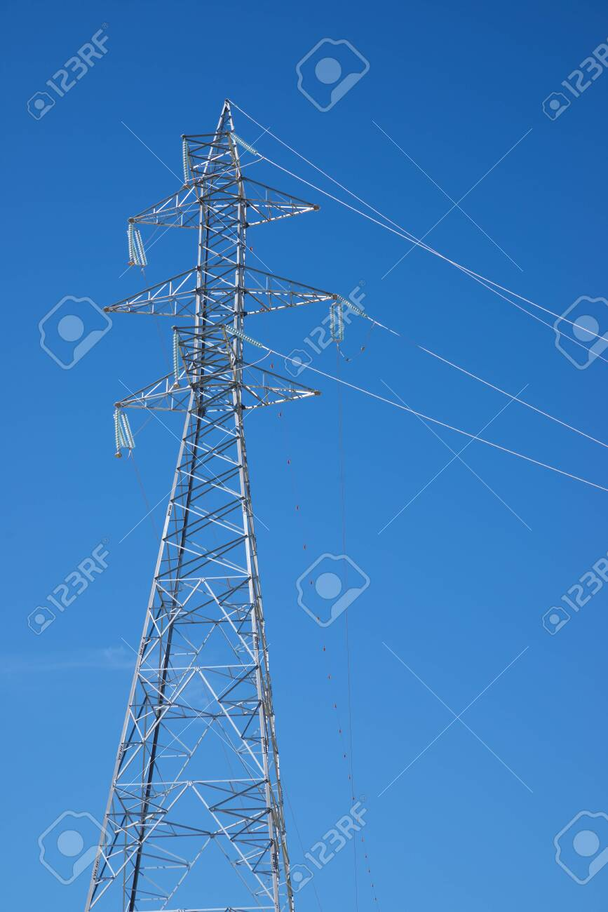 Power line in Zaragoza province, Aragon in Spain. - 149085928