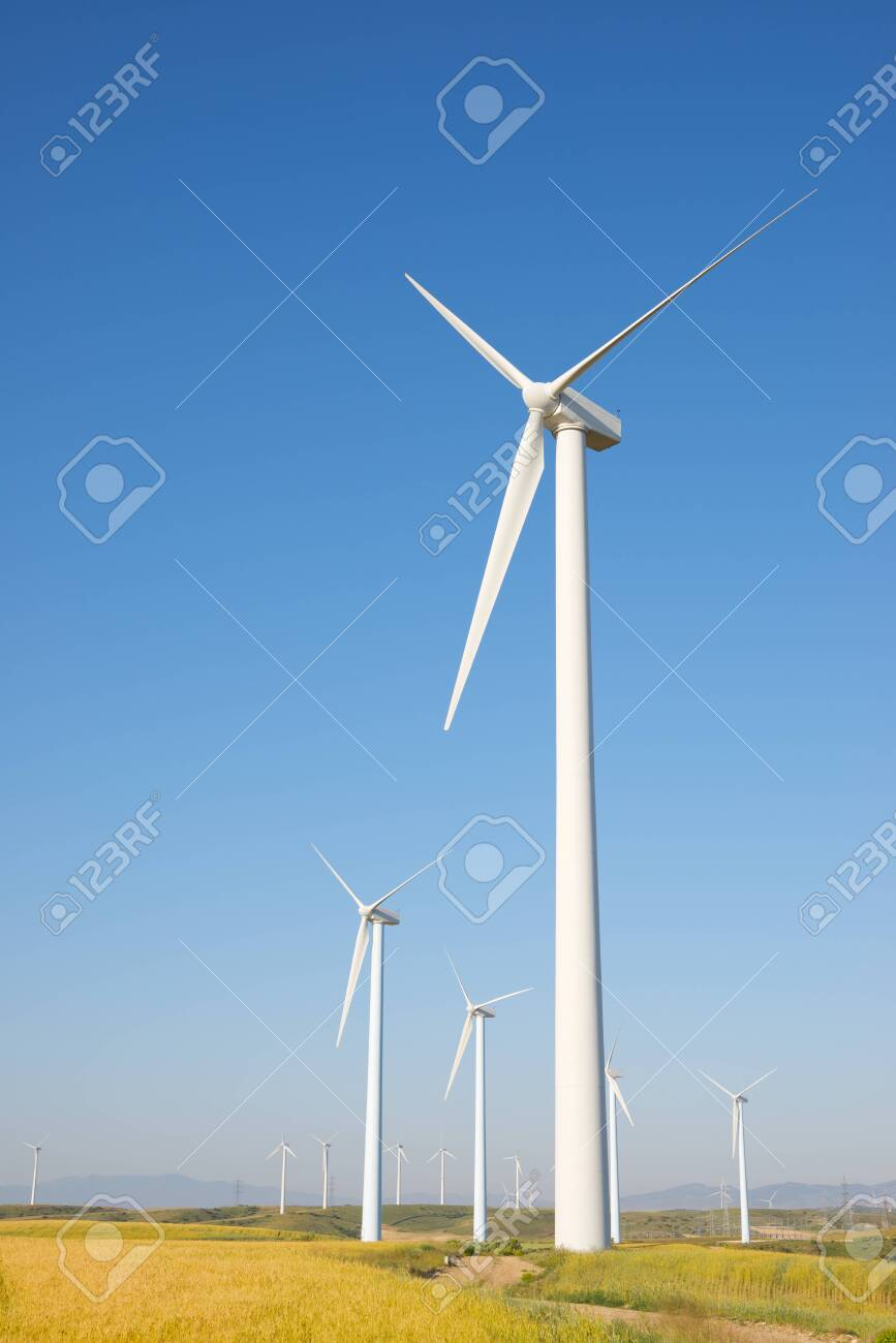 Windmills for electric power production, Zaragoza province, Aragon in Spain. - 151333953