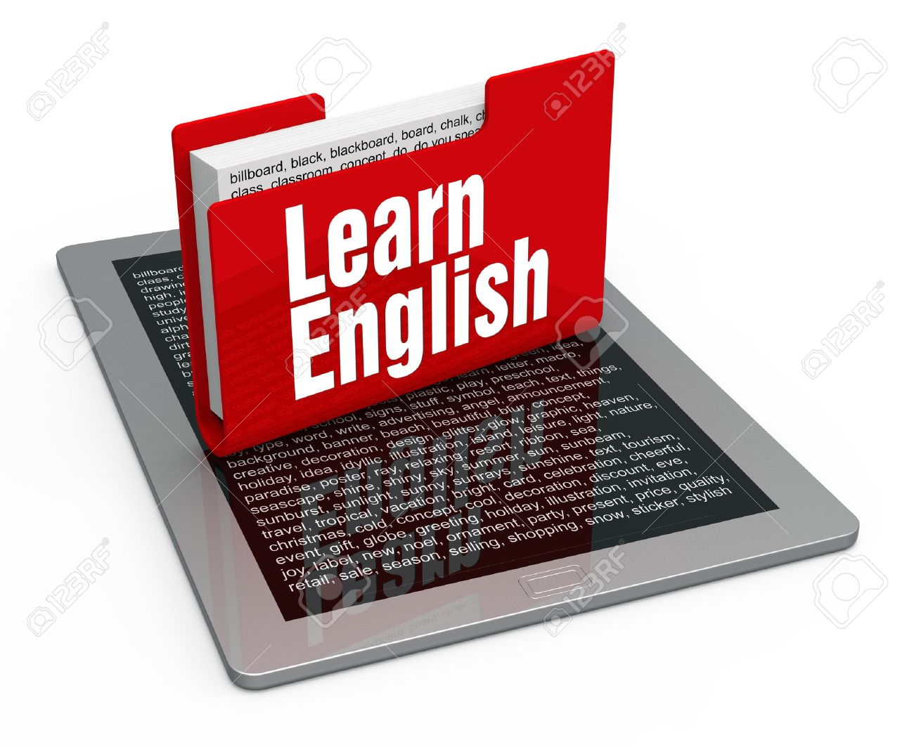 English lesson on computer tablet Stock Photo - 19936995