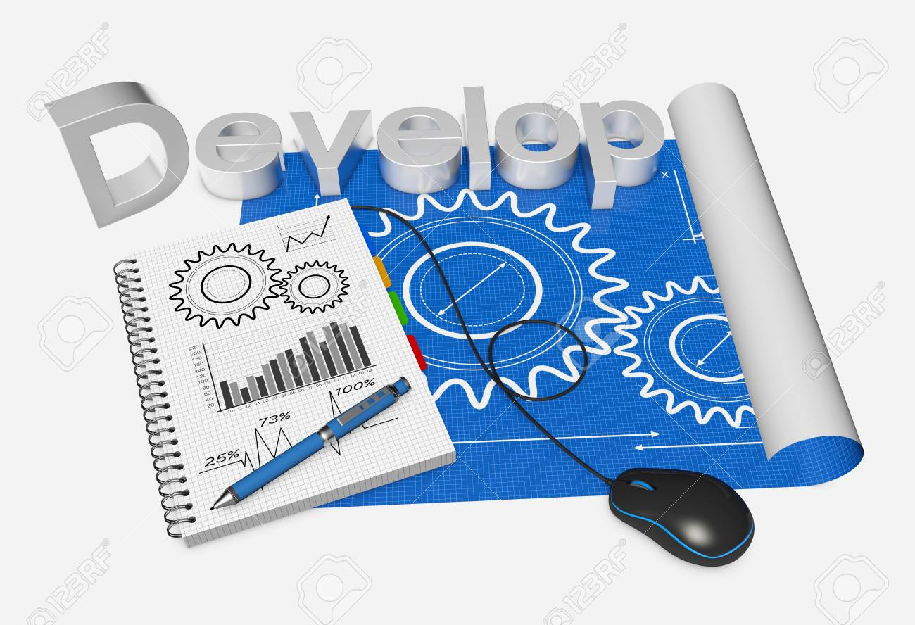 Blueprint development project as concept stock photo picture and blueprint development project as concept stock photo 21816052 malvernweather Image collections