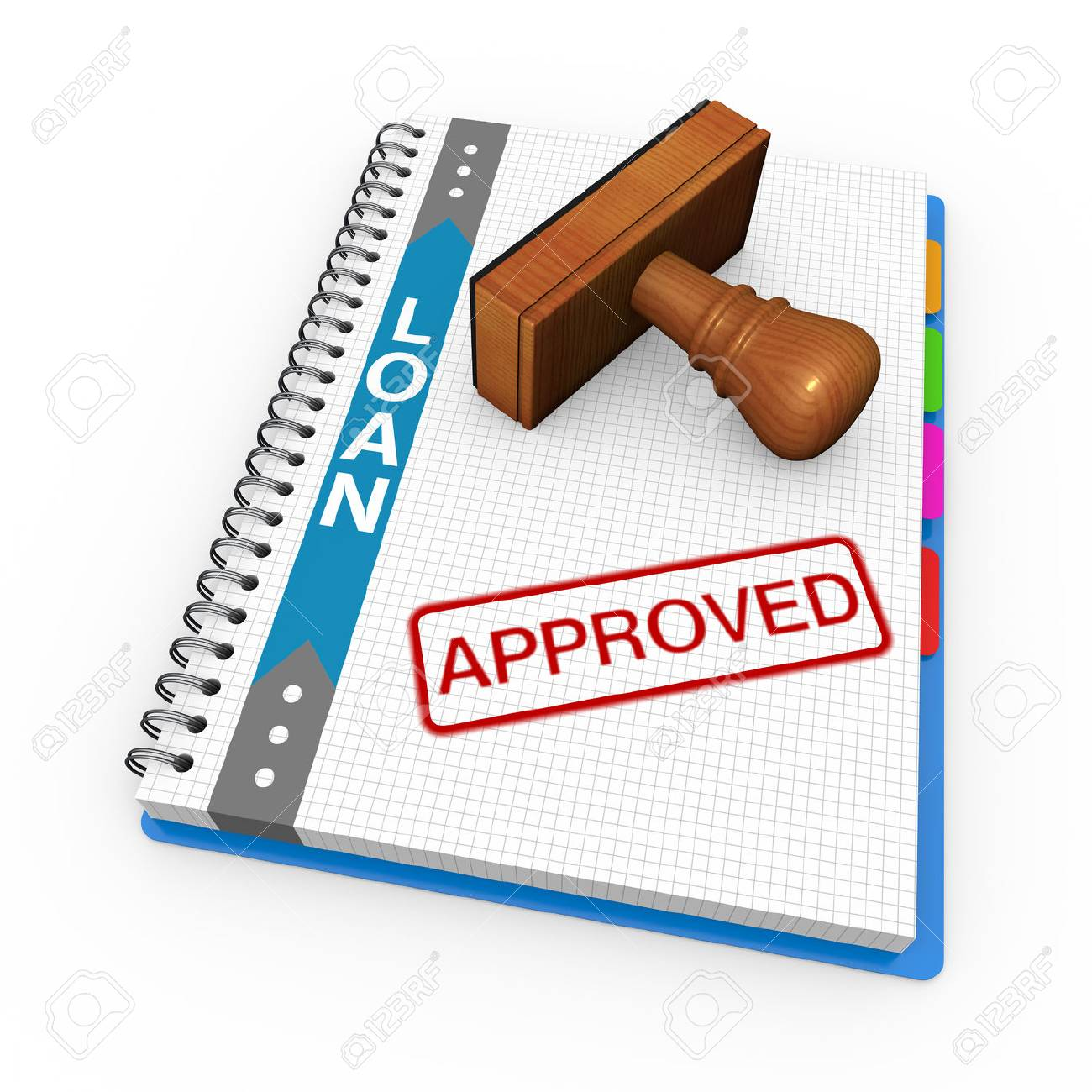 Notebook and rubber stamp with the word approved - 23070711