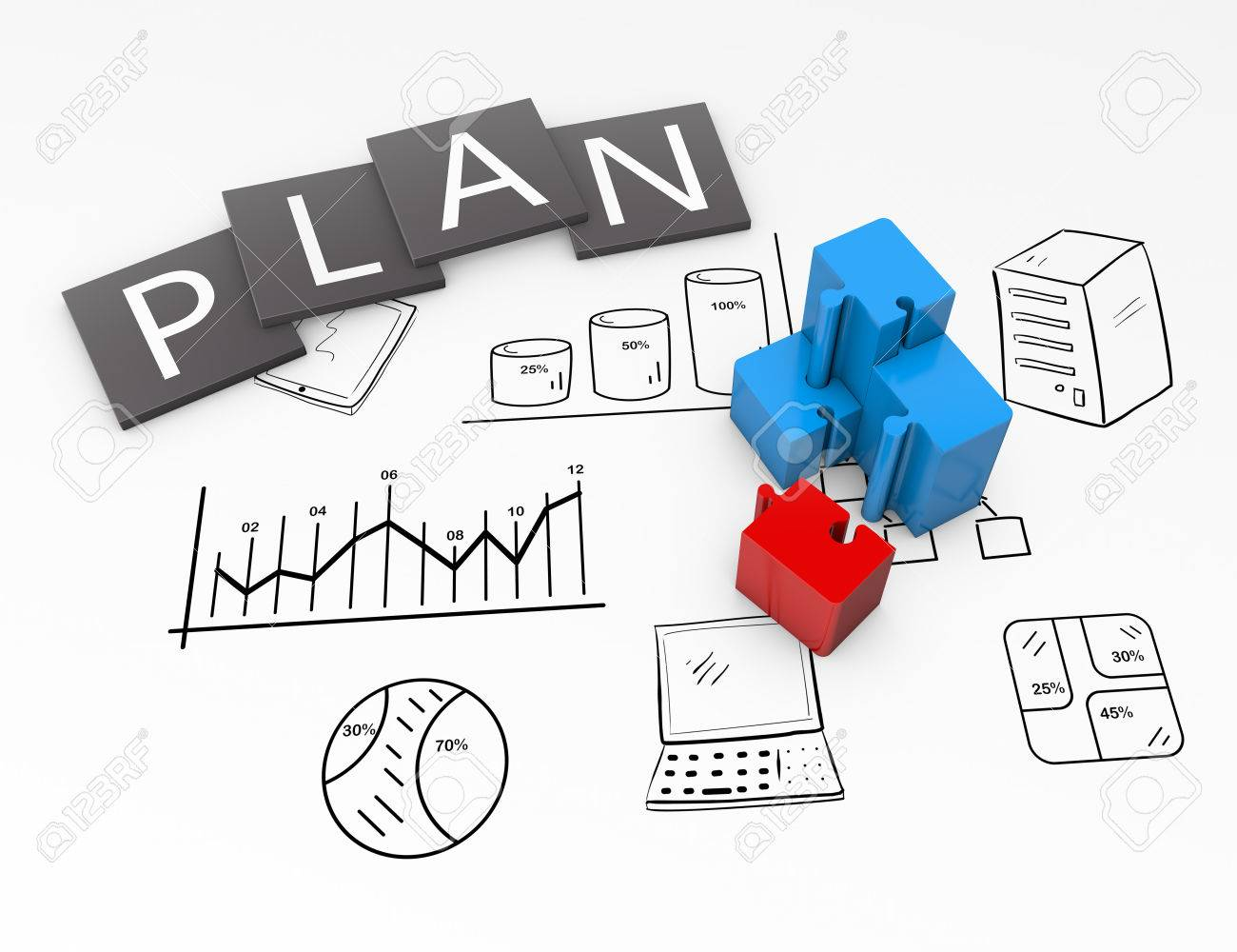 Business plan flow chart on the drawing - 23387962
