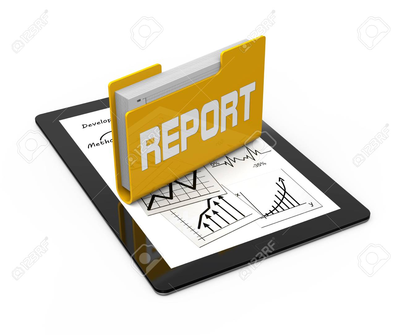 Computer tablet with business documents - 23387967