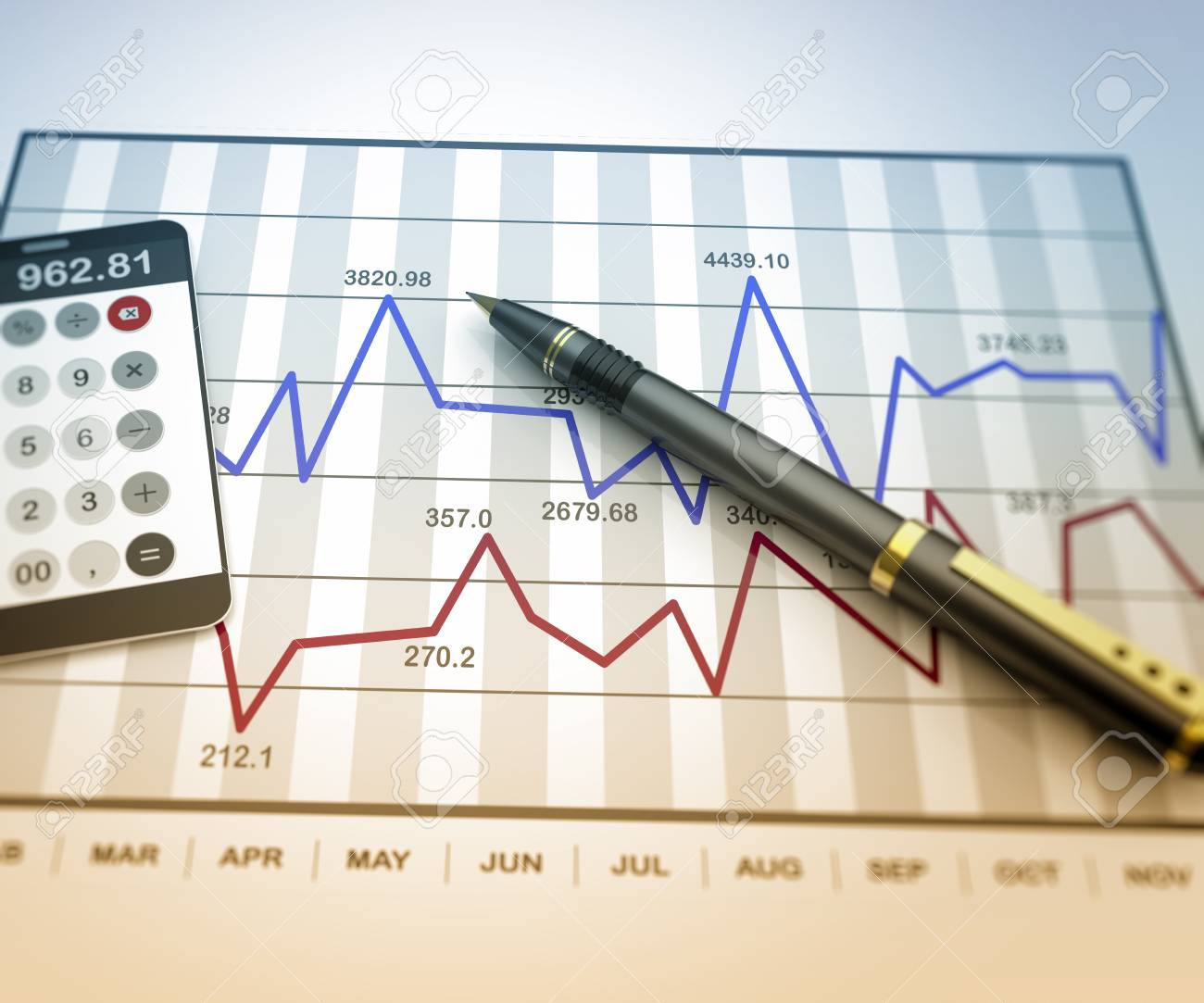 Pen and calculator on stock chart - 24166941