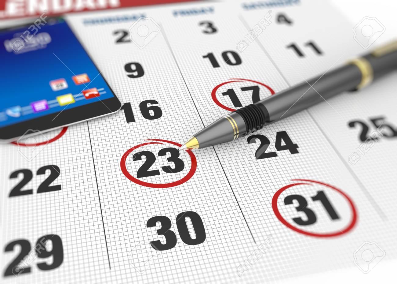 Pen and calendar on calendar - 24876797