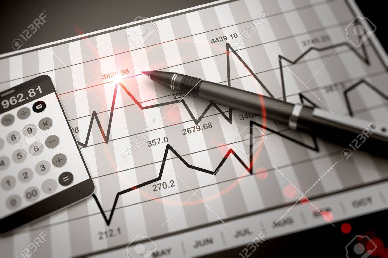 Pen and calculator on stock chart - 24836265