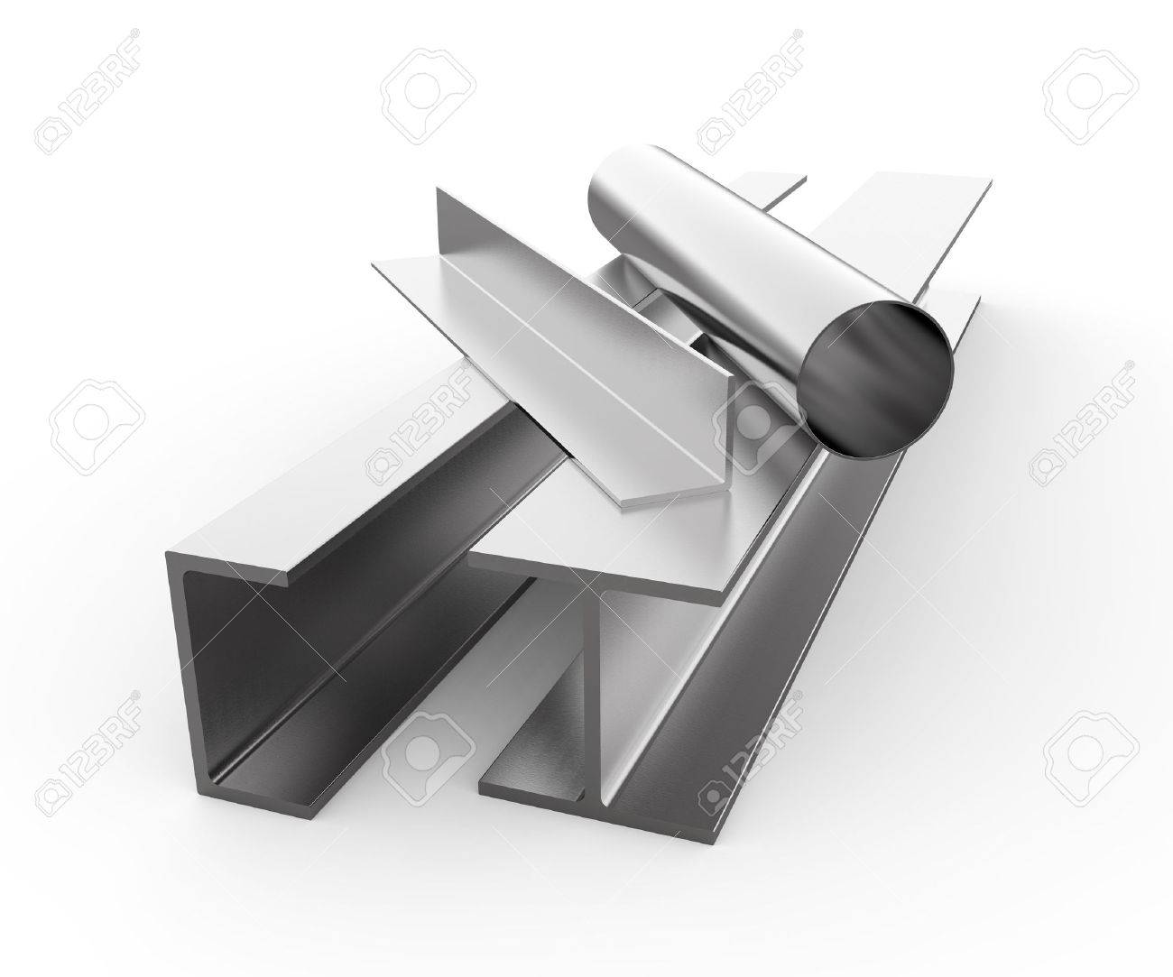 Rolled metal products on white background - 25607477
