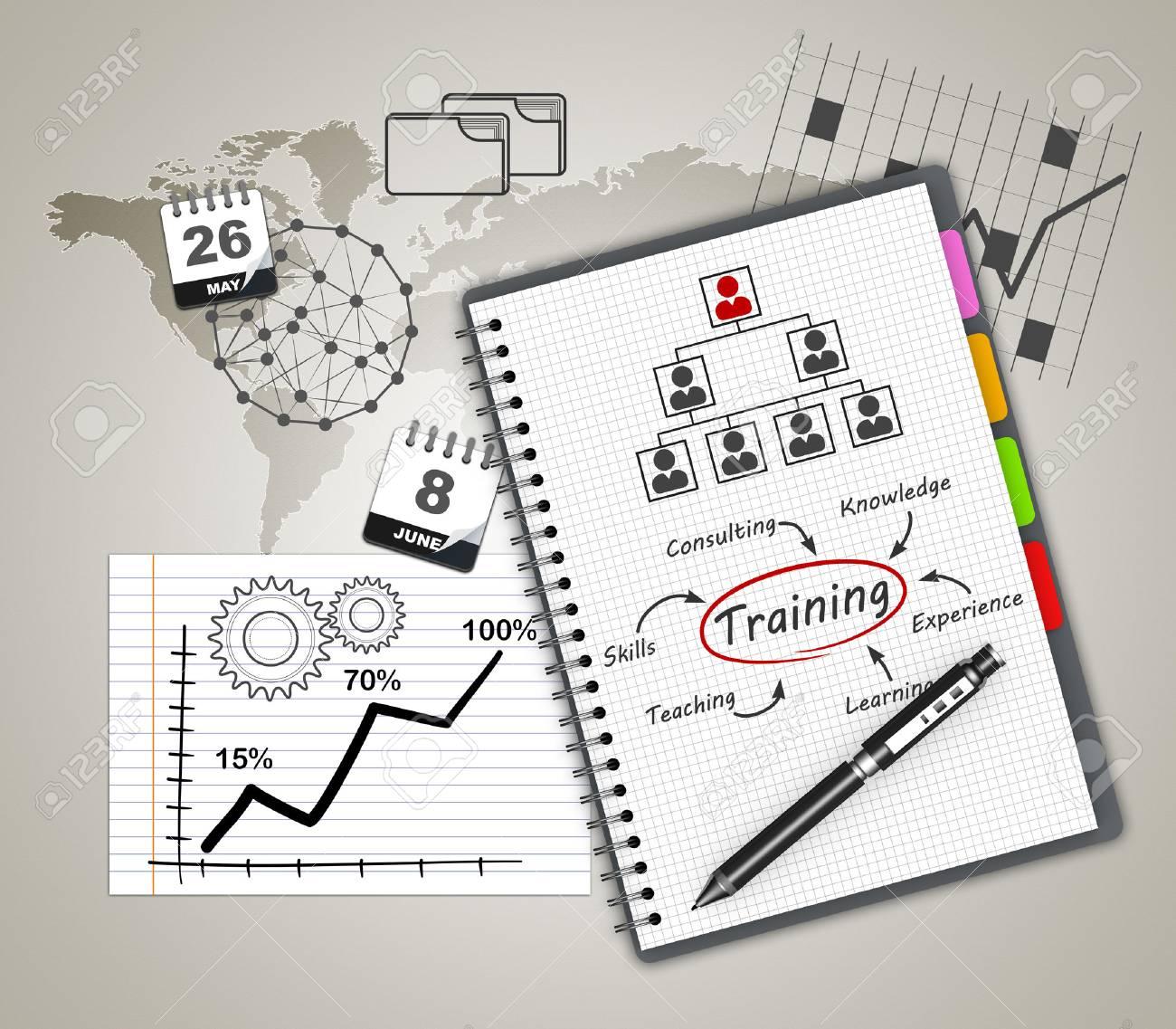 Training concept illustration design over a notebook - 26368648