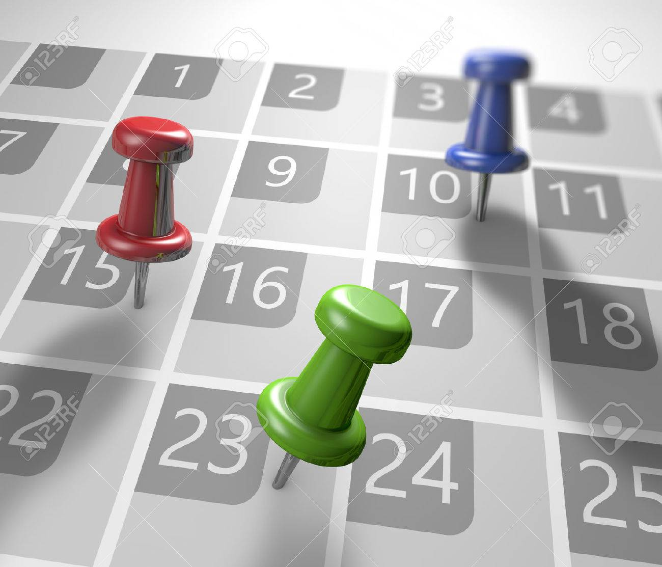 Calendar with thumbtacks as a concept of events - 29601598