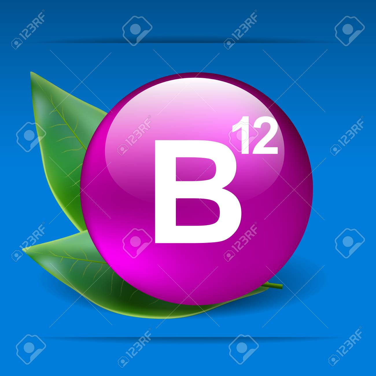 Vitamin B12 with green leaves as concept - 30505055