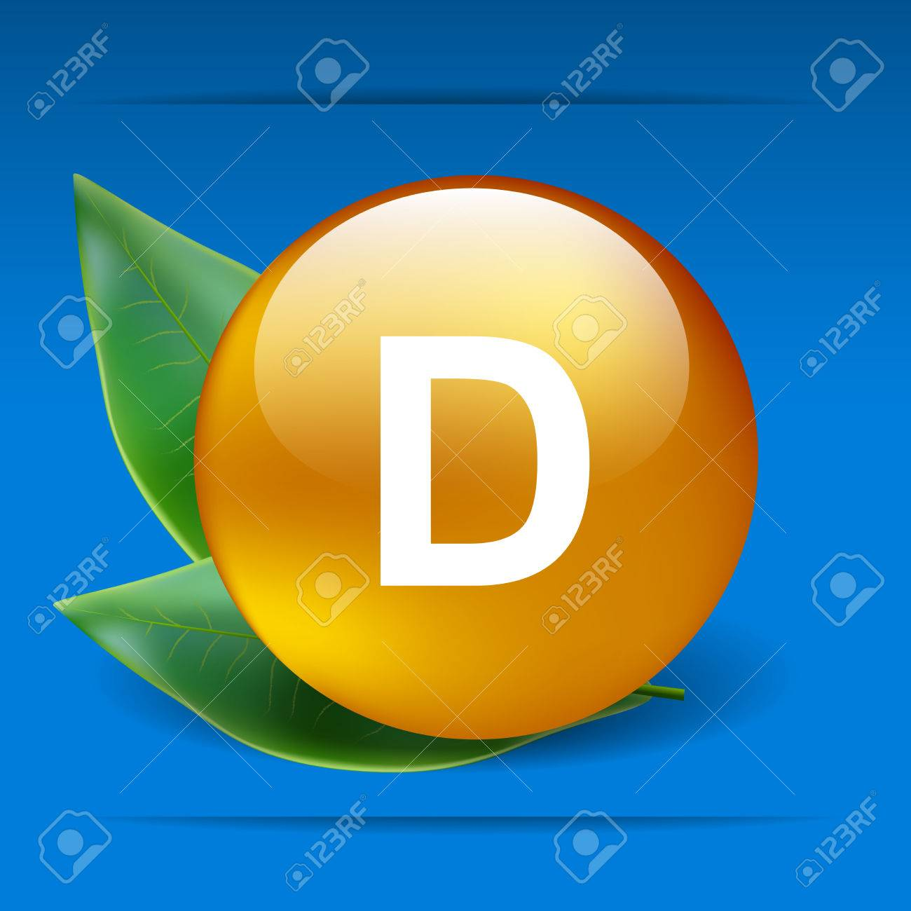 Vitamin D with green leaves as concept - 30505057