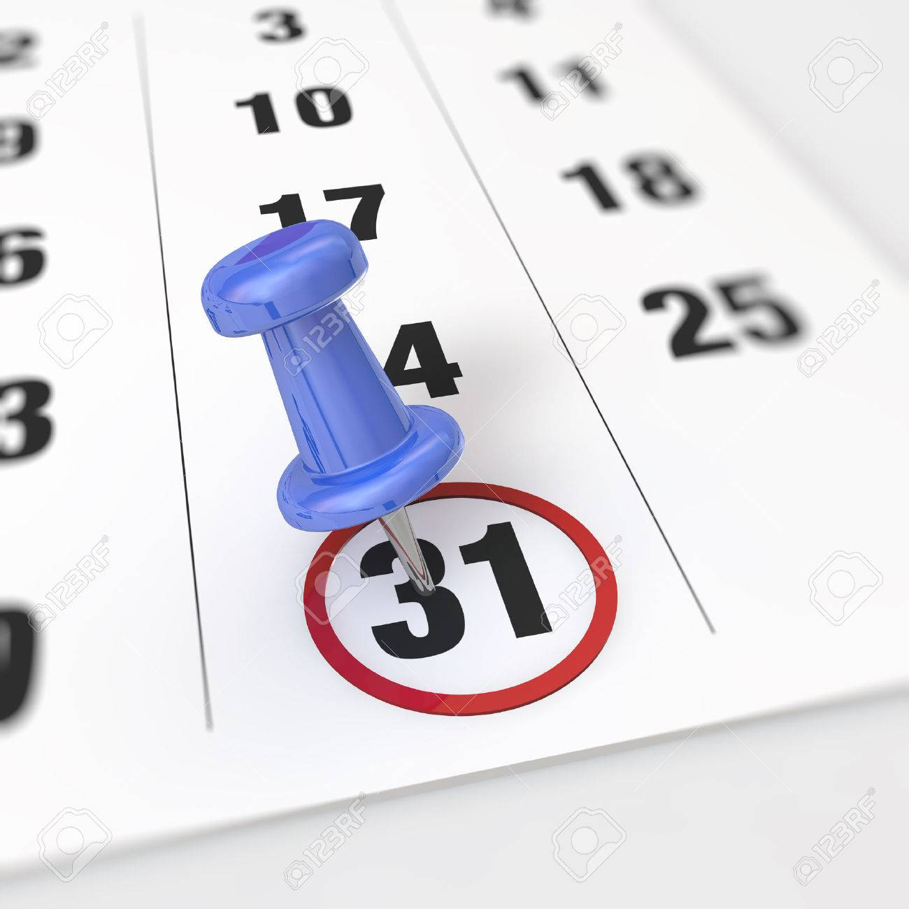 Calendar and blue pushpin. Mark on the calendar at 31. - 31281622