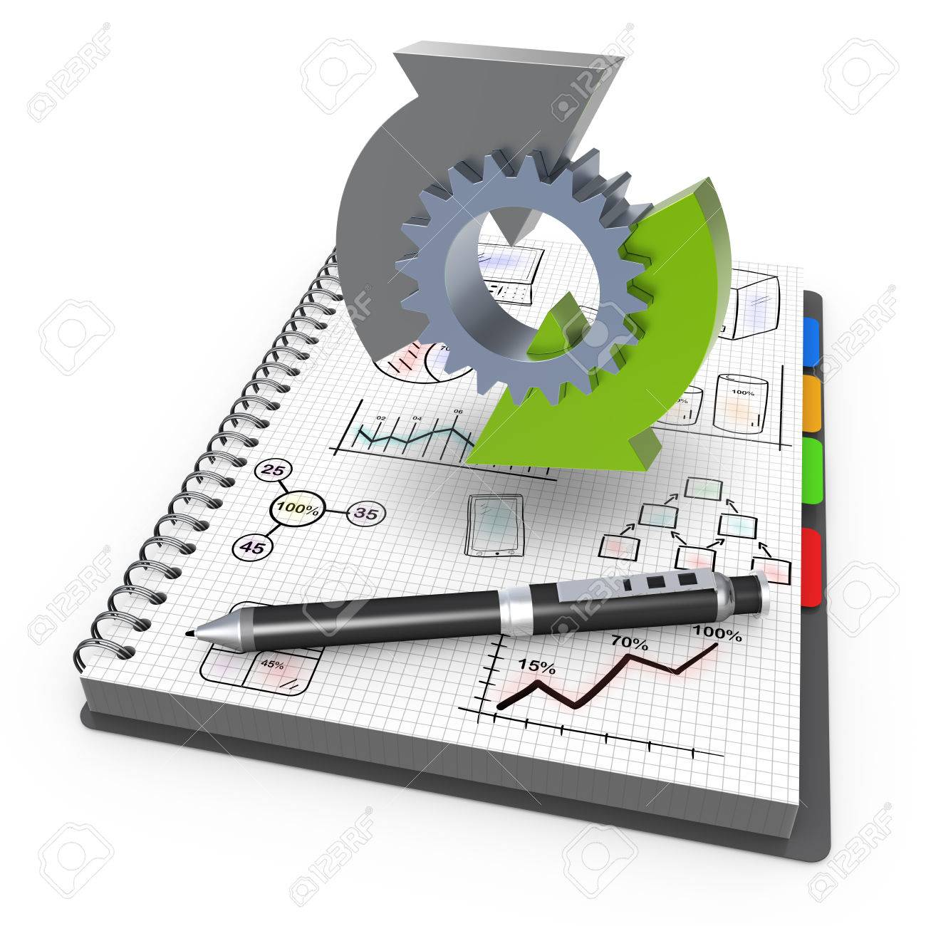 Spiral notebook with process business - 34187592