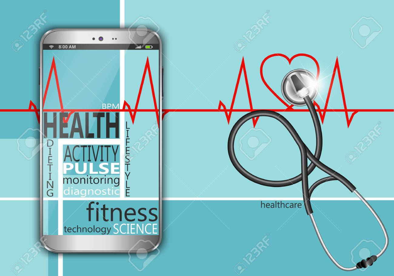 Smart phone with the words health as concept - 39568897