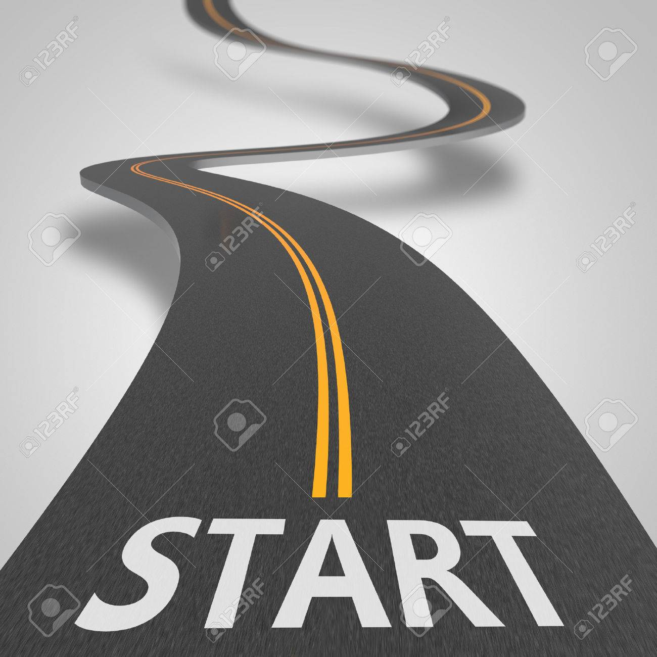 Asphalt road to starting position as concept - 42003915