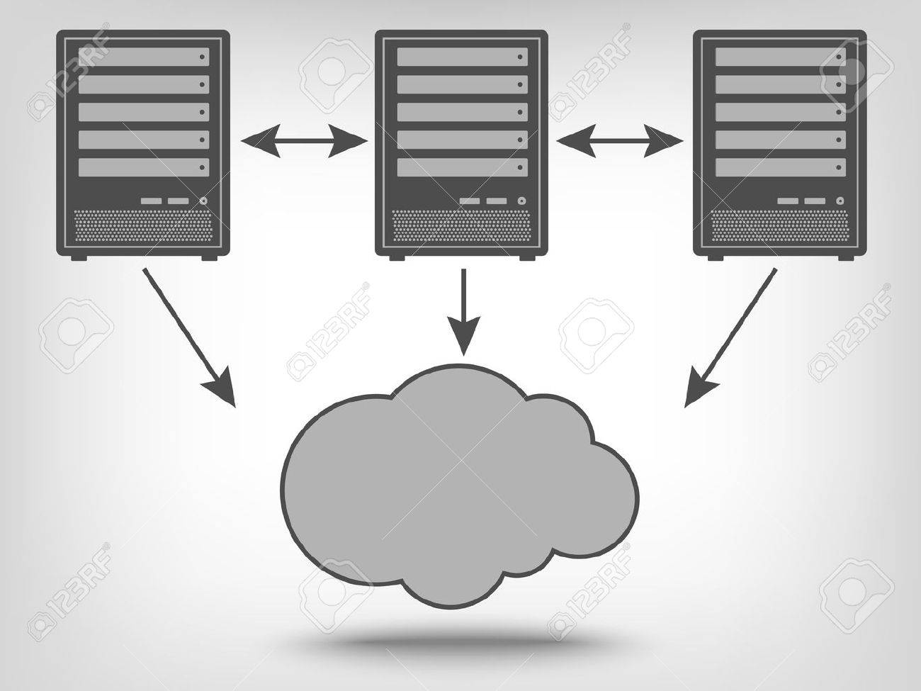 Icon of computer servers and cloud computing as a concept - 42003986