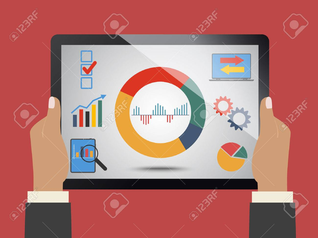 Comparing statistics in business, concept theme - 43463299