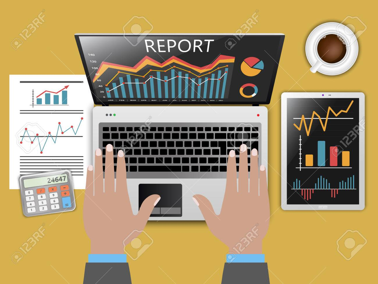 Status report in business, financial theme - 43463348