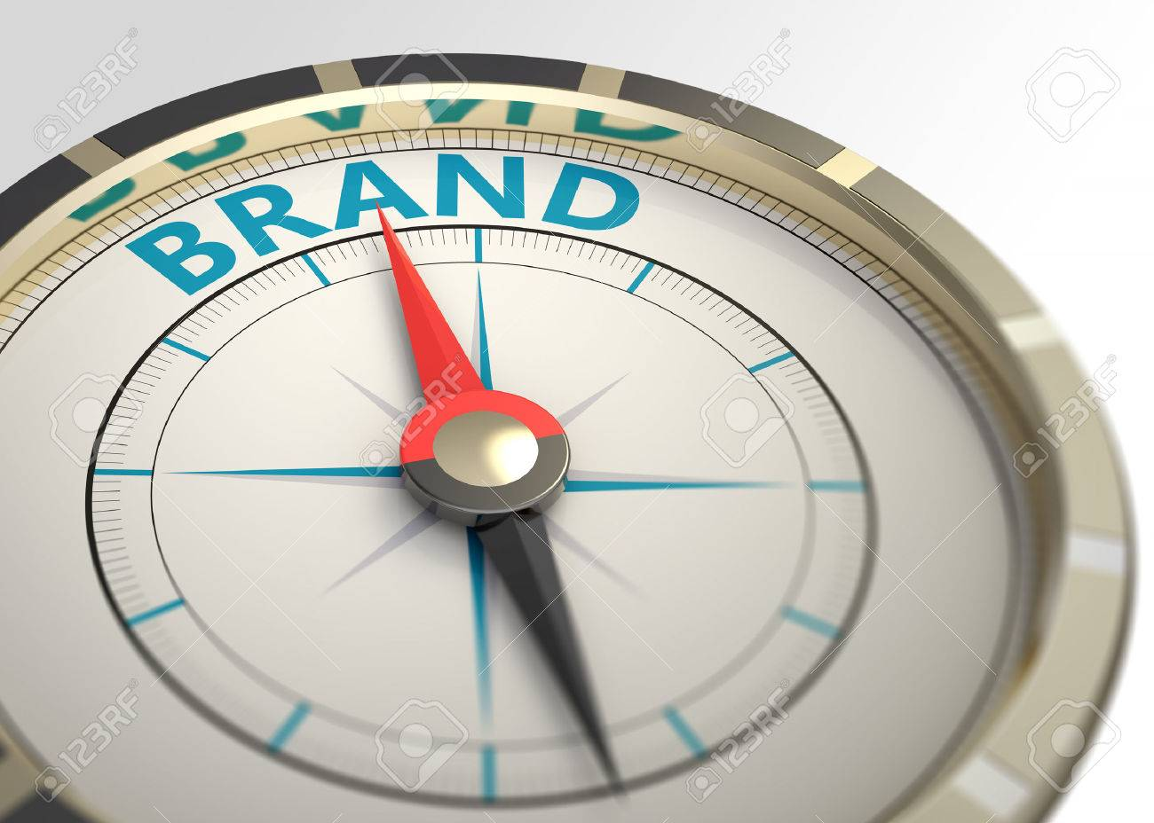 Compass and an arrow pointing to the word brand - 43463375