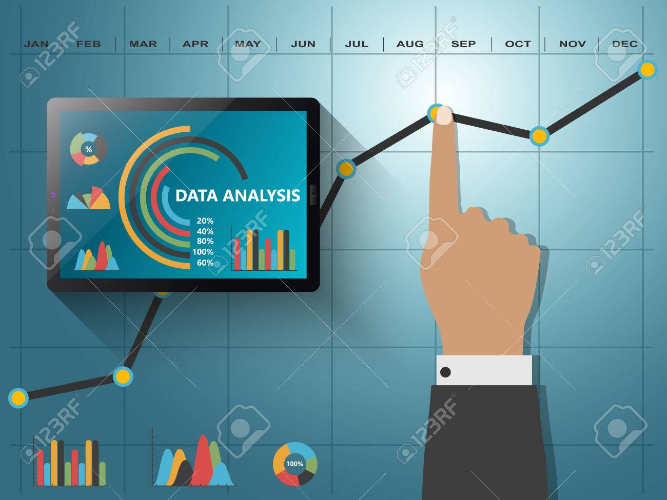 Comparing statistics in business, infographics report charts - 49360847