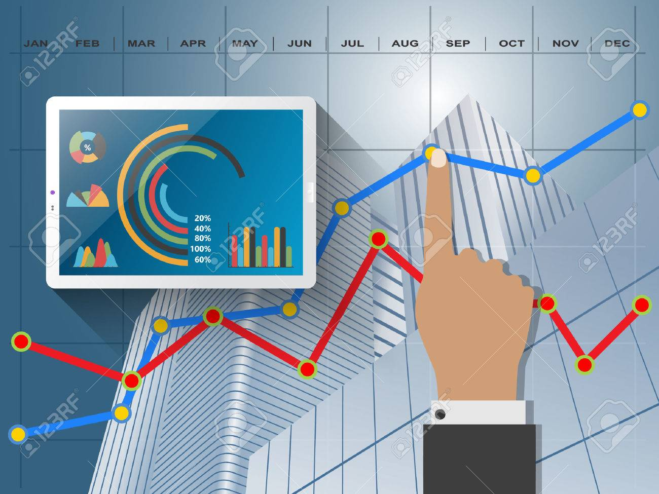 Comparing statistics in business, infographics report charts - 49360848