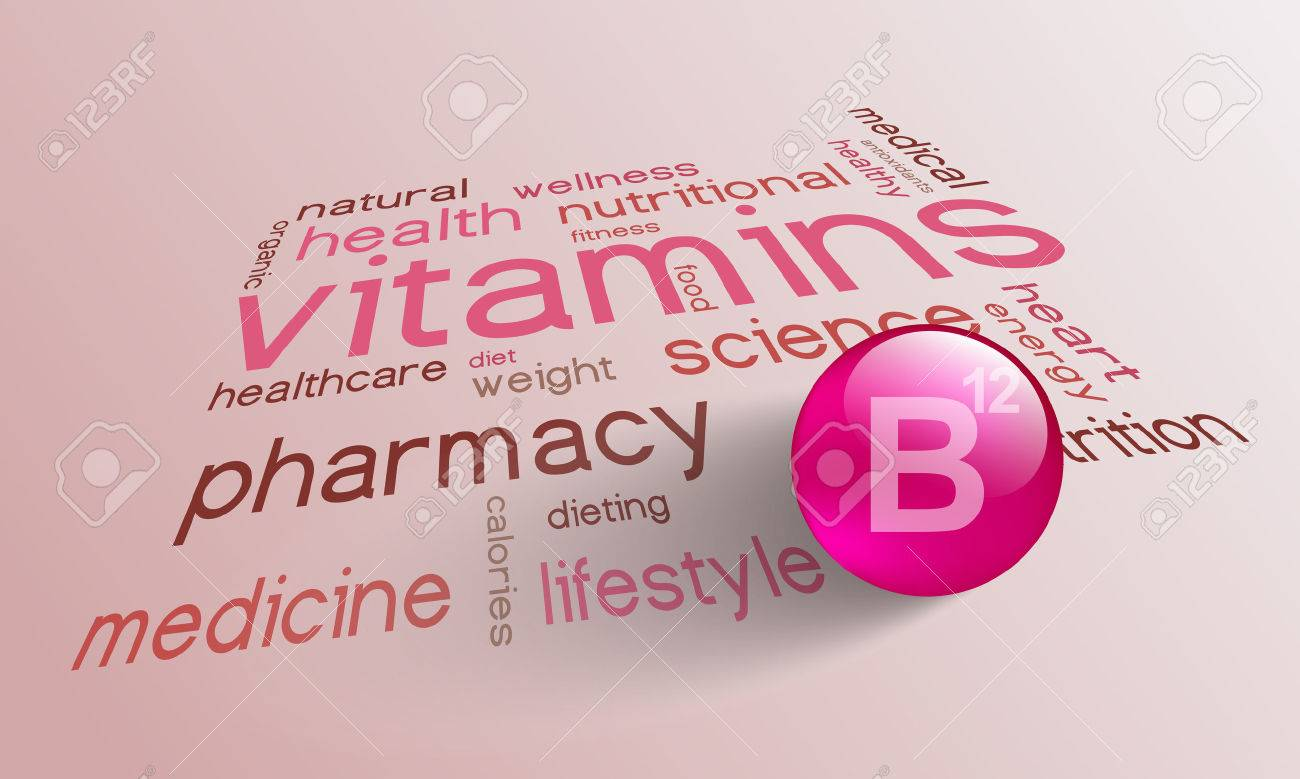 Vitamin B 12 element for a healthy life in the word cloud - 56532900