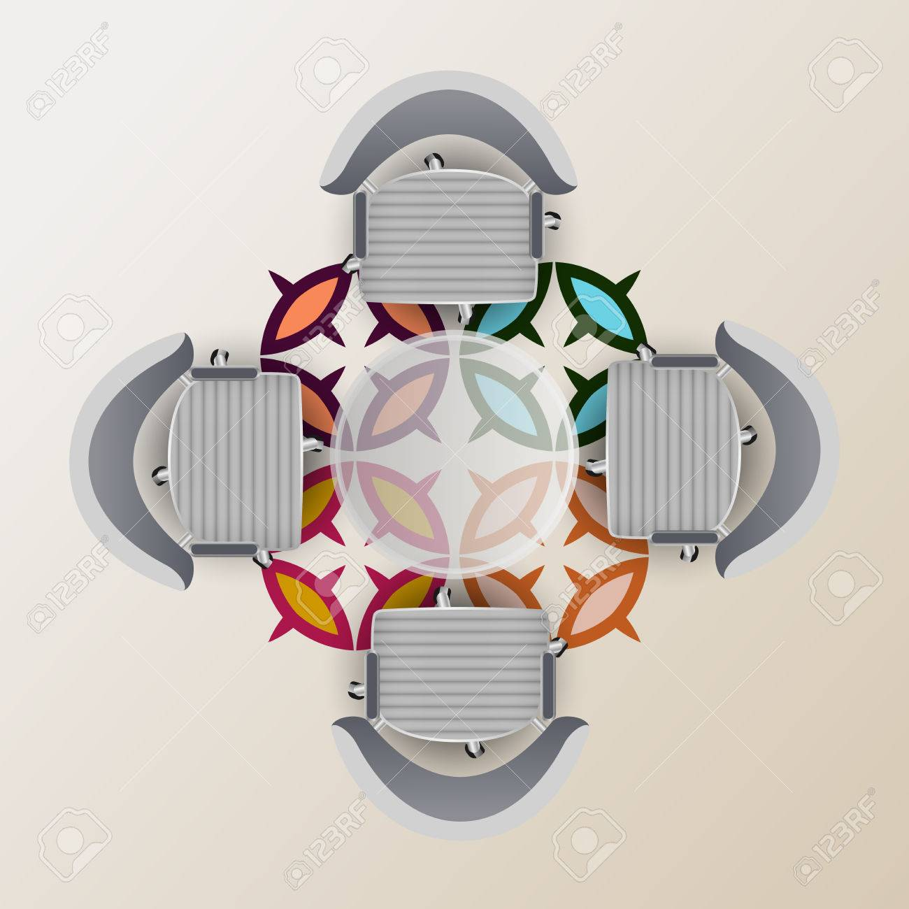 glass table top view. Top View Of A Conference Room. Half Round Glass Table, Four Chairs Carpet With Table 1