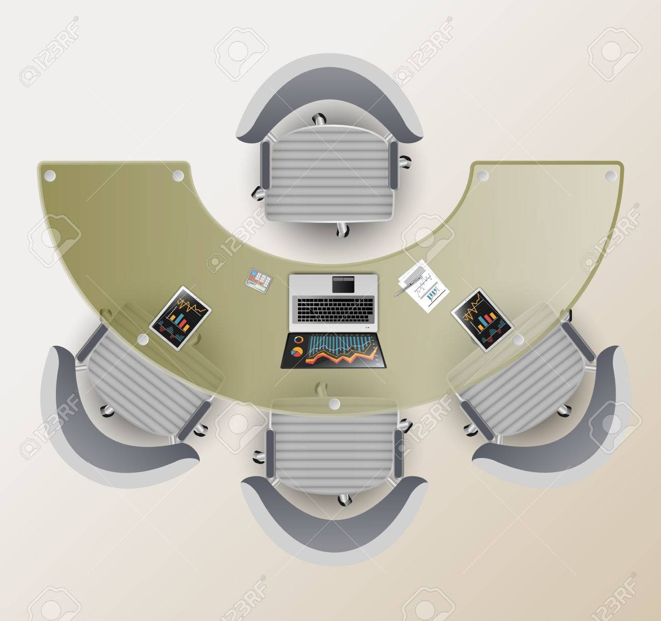 Picture of: Top View Of A Conference Room Half Round Glass Table Four Chairs Royalty Free Cliparts Vectors And Stock Illustration Image 57230008