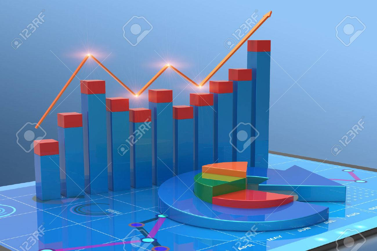 3D Rendering analysis of financial data in charts, accounting, business finance, taxes, banking, statistics, vision for the future - 57230010