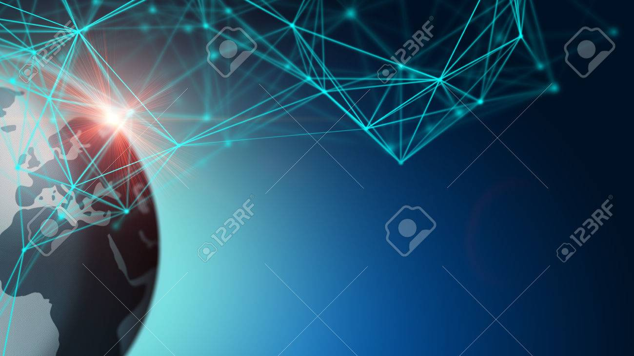 3D Illustration technology abstract background, concept of traffic global network business - 65730044
