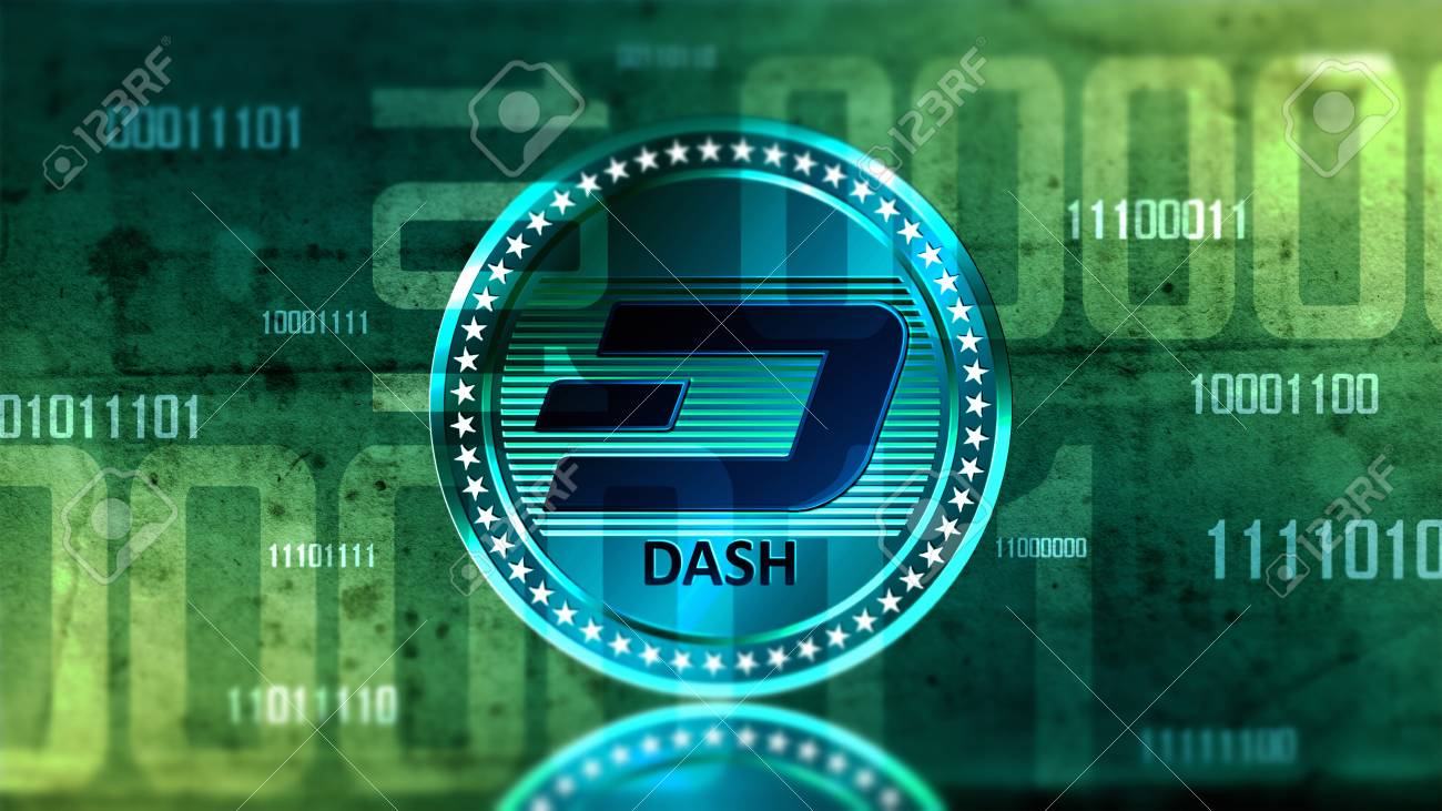 Virtual cryptocurrency Dash coin sign in digital cyberspace - 91268558
