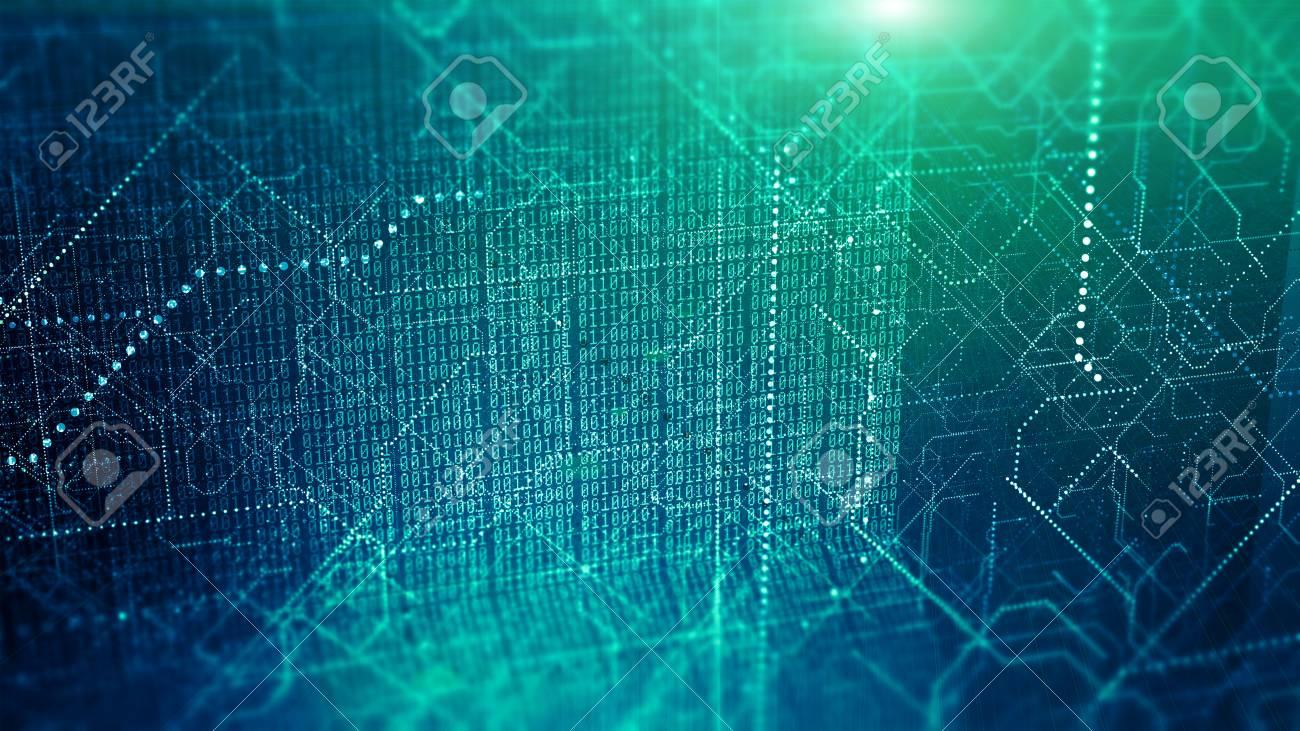 Big data visualization. Cyber technology code binary abstract background. - 120038395
