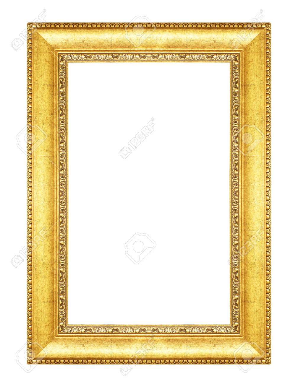 Old Antique Vintage Gold Frames Isolated On White Background Stock