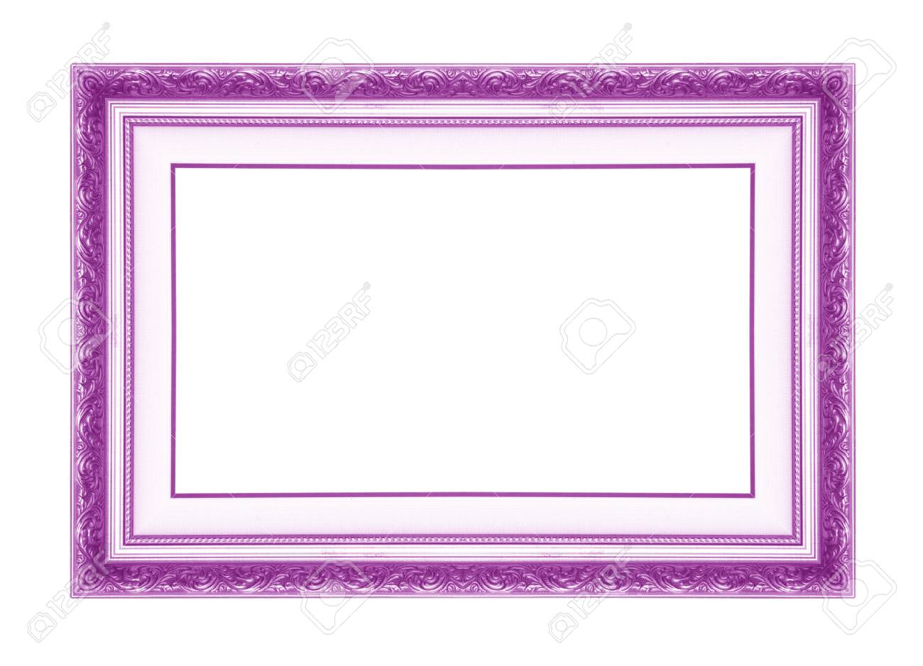Purple Antique Picture Frames. Isolated On White Background Stock ...
