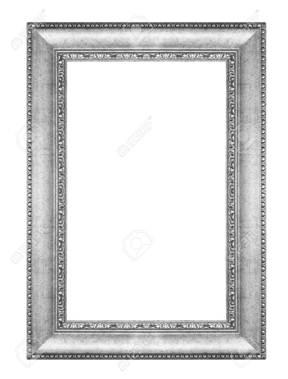 stock photo old antique vintage silver frames isolated on white background