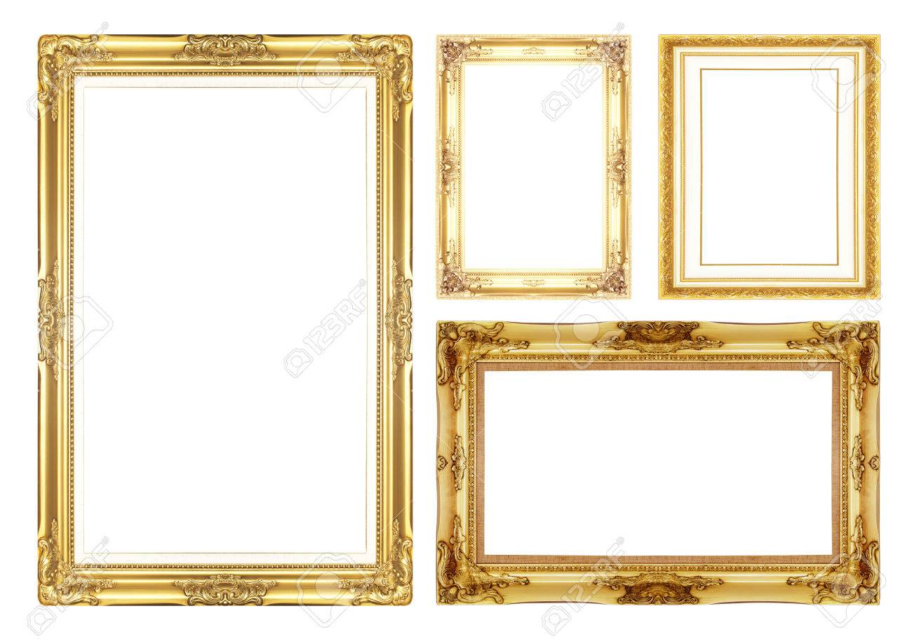 Gold Antique Vintage Picture Frames. Isolated On White Background ...