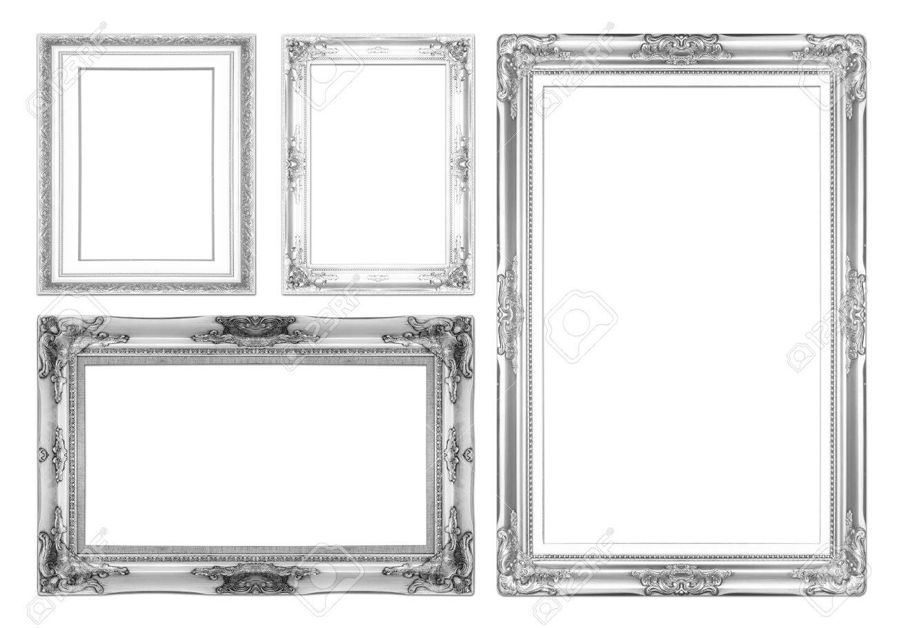 Silver Antique Picture Frames. Isolated On White Background Stock ...