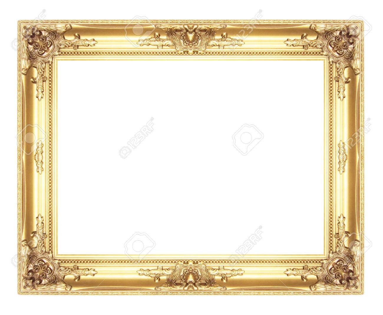 Old Antique Gold Picture Frames. Isolated On White Background Stock ...