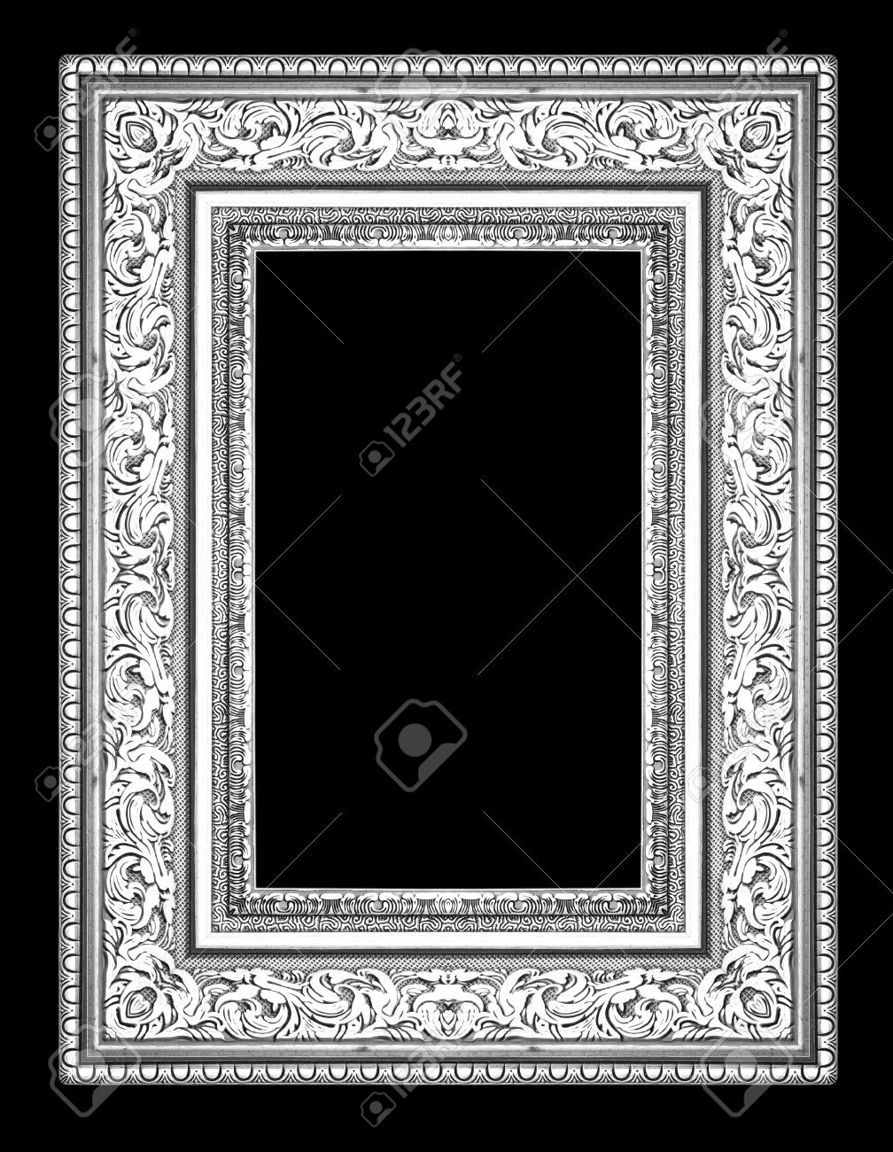 silver antique picture frames. Silver Antique Vintage Picture Frames. Isolated On Black Background Stockfoto - 29182566 Frames O