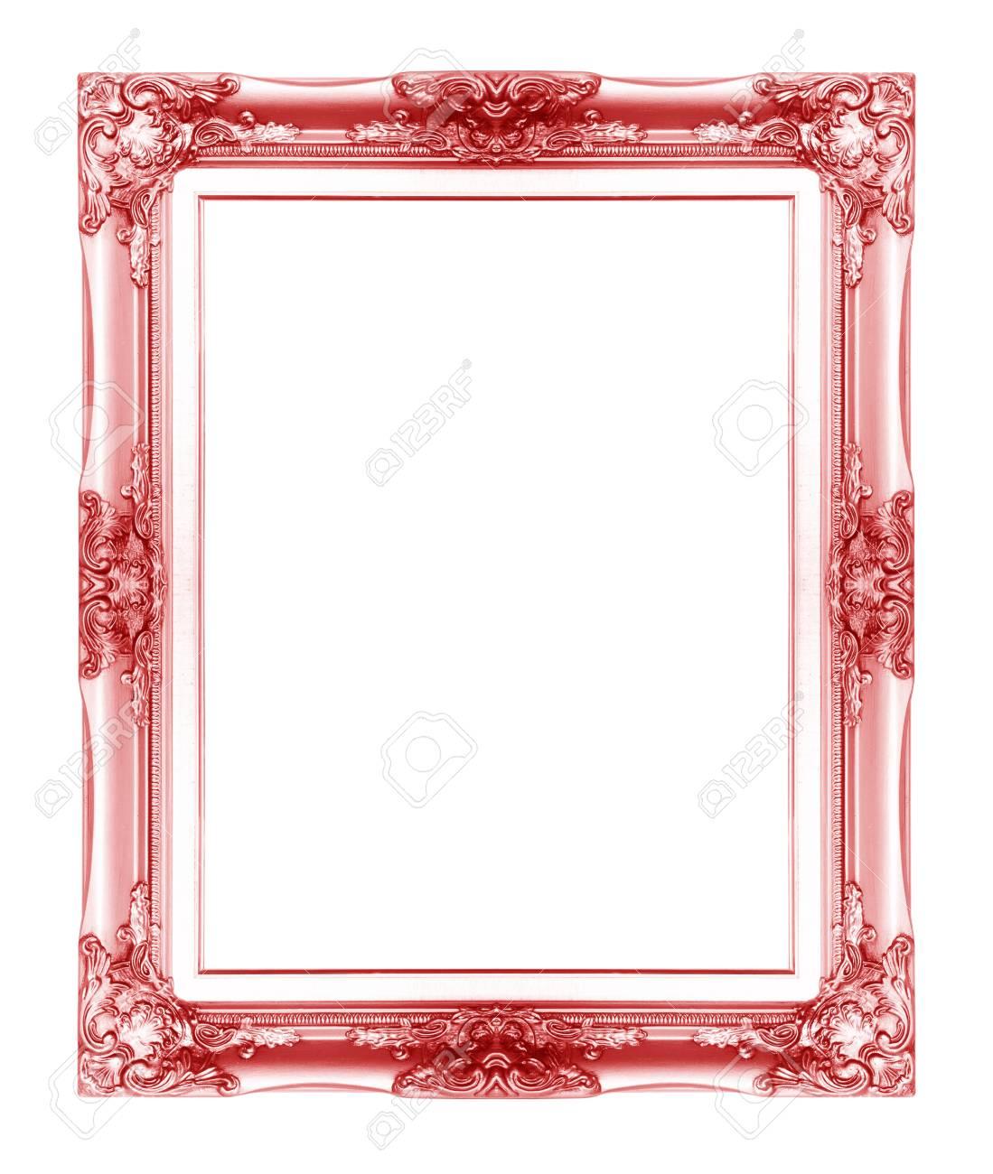 Red Antiken Vintage Bilderrahmen. Isoliert Auf Weißem Hintergrund ...