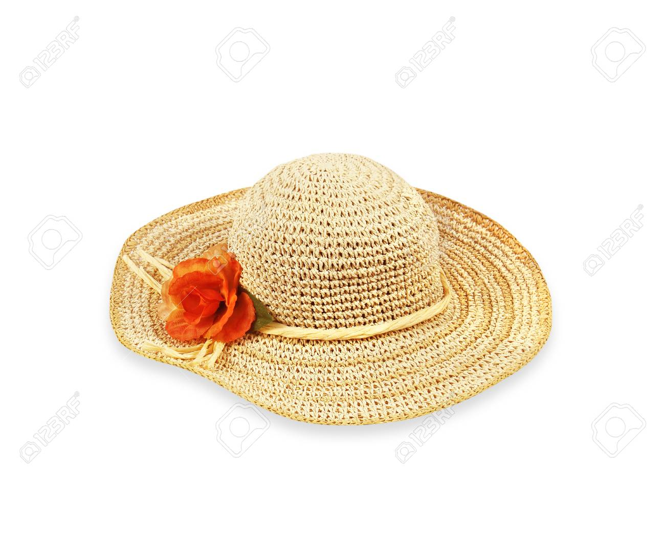 Pretty straw hat with flower on white background Stock Photo - 32256686 ac57148bf83f