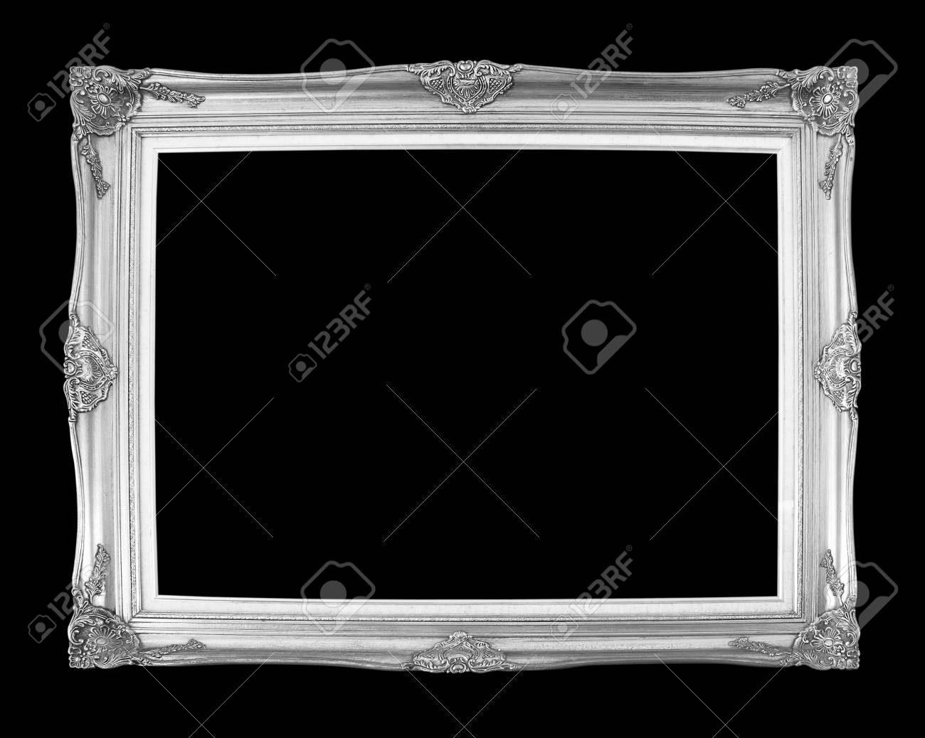 silver antique picture frames. Silver Antique Picture Frames. Isolated On Black Background Stock Photo - 33303555 Frames