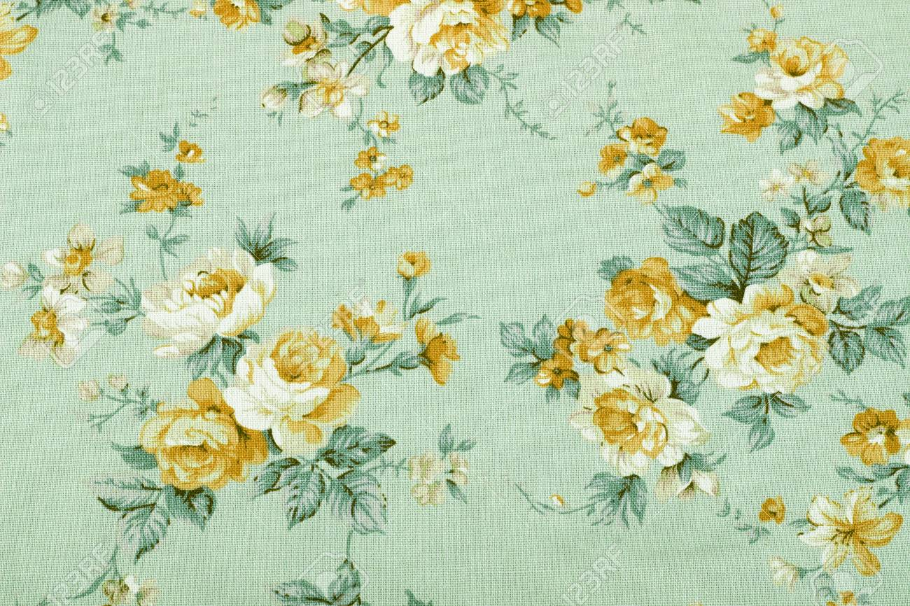 Stock Photo - vintage style of tapestry flowers fabric pattern background